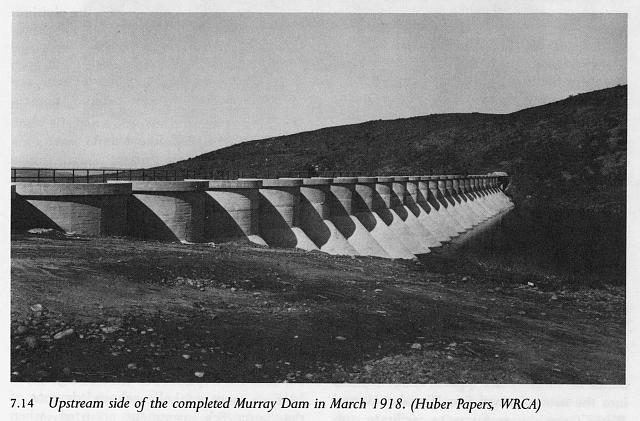 Upstream side of the completed Murray Dam in March 1918 (Huber Papers, WRCA)
