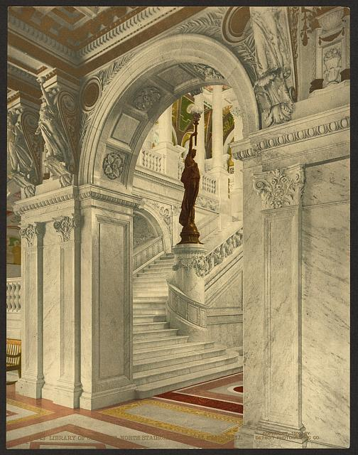 Library of Congress, north staircase, central stair hall