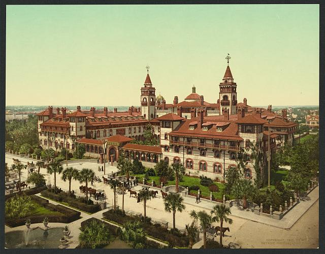 The Ponce de Leon, St. Augustine, Florida. Photochrom postcard by the Detroit Photographic Co., copyrighted 1902. Library of Congress Prints and Photographs Division Washington, D.C. 20540 USA