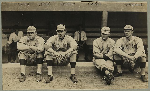 [Babe Ruth, Ernie Shore, Rube Foster, Del Gainer, Boston Red Sox, American League]