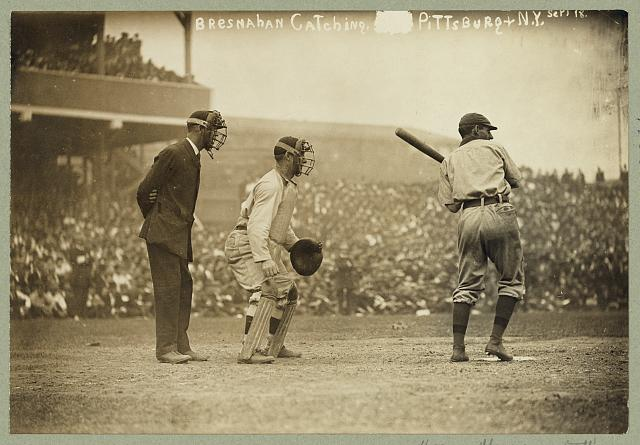 [Roger Bresnahan, catching for the New York Giants while a Pittsburgh Pirate player is at bat]