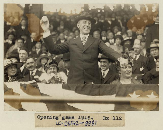 [President Woodrow Wilson throwing out the first ball, opening day, 1916]