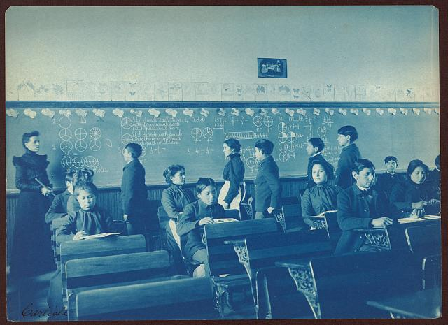 [Native Americans during mathematics class at Indian School, Carlisle, Pennsylvania]