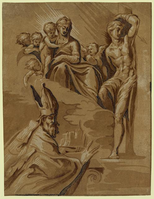 The Virgin, St. Sebastian and a holy bishop
