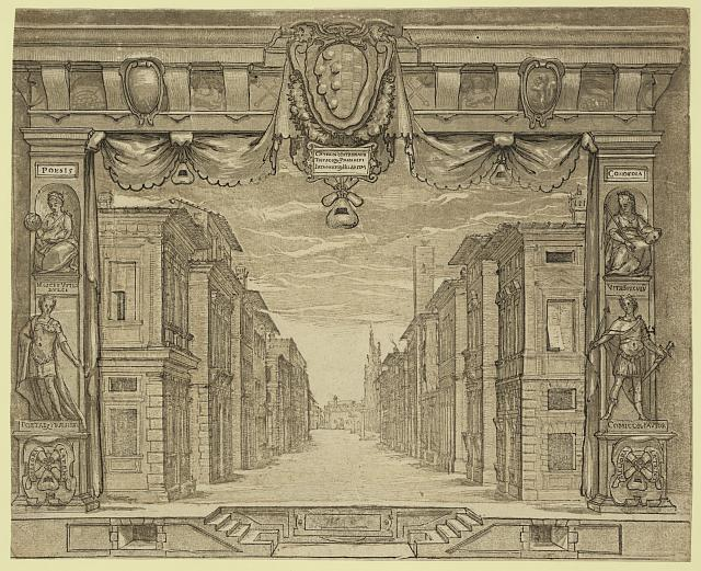 Stage design for L'Ortensio, 1589