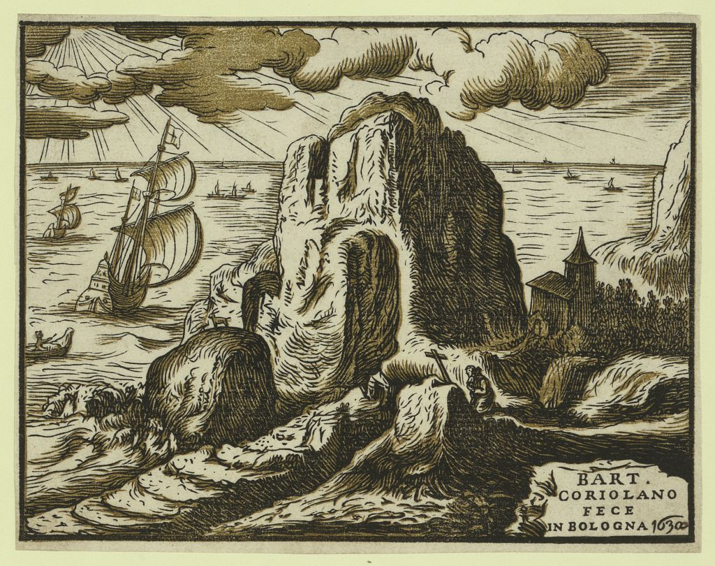 landscape with hermit or saint in prayer bart