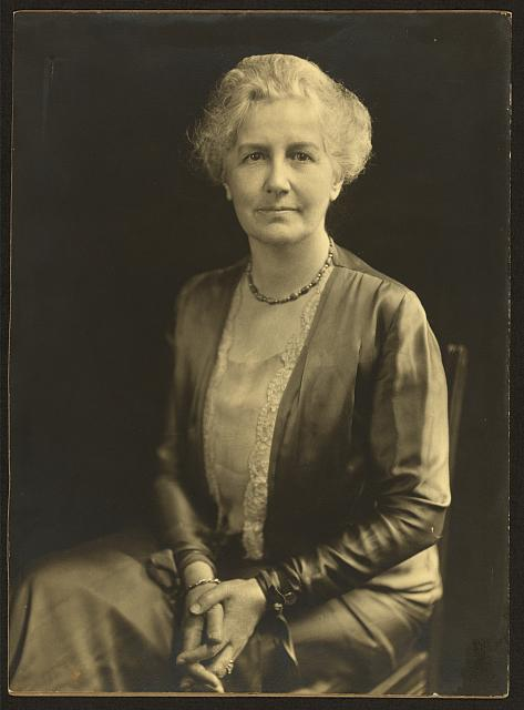 [American Colony leader Bertha Spafford Vester, three-quarter length portrait, seated, facing front]