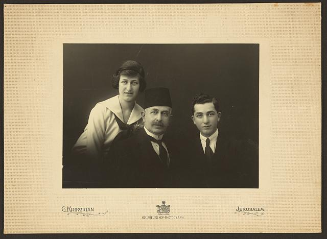 [M. Souaya, his daughter, and son, half-length portrait, facing front]
