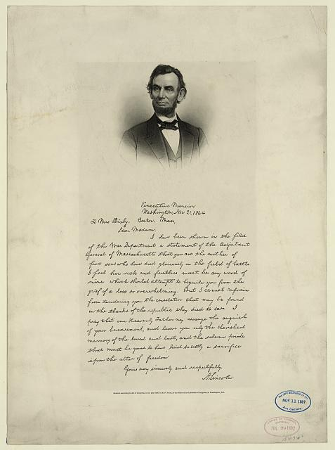 [Letter from Abraham Lincoln to Mrs. Bixby, with bust-length portrait of Lincoln]