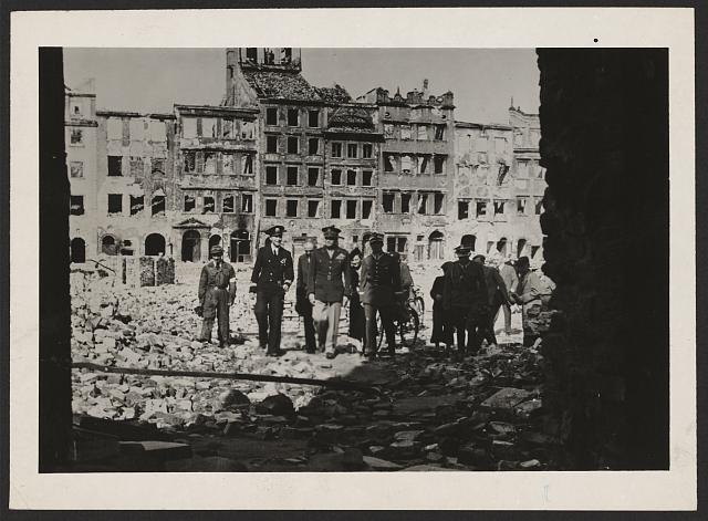 General Eisenhower in ruined Warsaw