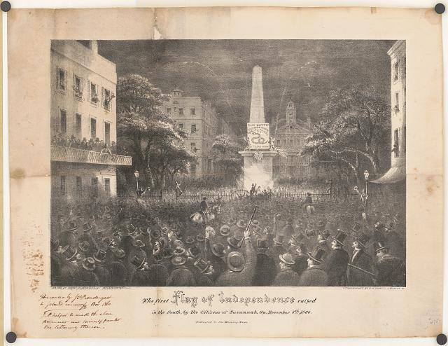 The first flag of independence raised in the South, by the citizens of Savannah, Ga. November 8th, 1860