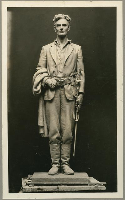 [Sculpture of Abraham Lincoln, full-length, standing, facing front, as captain in the militia, ca. 1832]