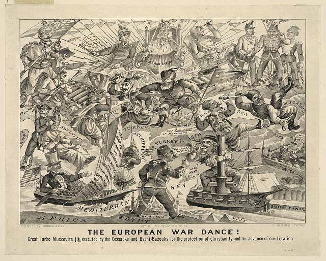 The European War Dance! Great Turko Muscovite Jig, executed by the Cossacks and Bashi-Bazouks for the protection of christianity and the advance of civilization