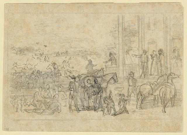 [Military encampment at plantation house]
