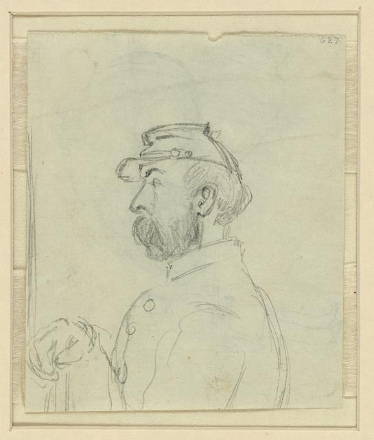[Profile bust portrait of a soldier]