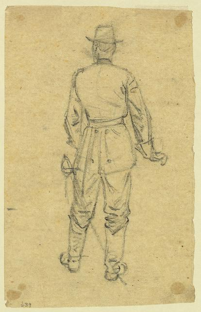 [Full-length rear view of standing officer]