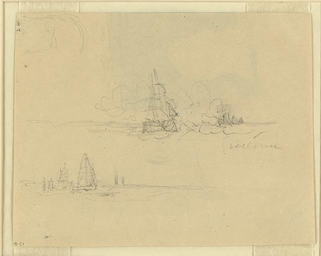 [Two scenes: naval engagement and sailboats at sea]