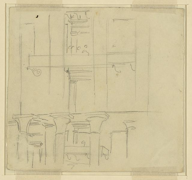 [Interior of hall with three figures on a stage]
