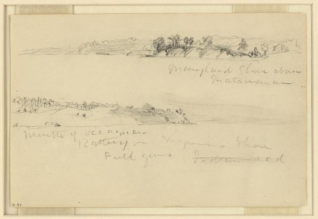 Maryland shore above Matawoman [sic] and Mouth of Occoquan, Battery of Virginia Shore, Field guns, Indian head