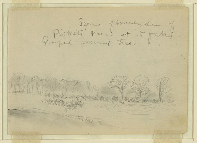 Scene of surrender of Pickets[sic] men, at 5 forks, Grouped around tree