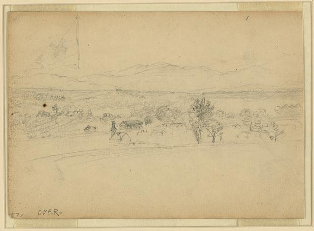 [Landscape with faintly drawn flag]