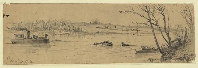 Sunken vessels, in the Rappahannock River, below Fredericksburg, with earthwork commanding the channel