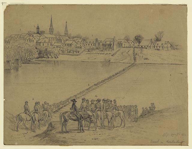 Occupation of Fredericksburg. General McDowell's corps crossing the Rappahannock River on pontoon bridge...