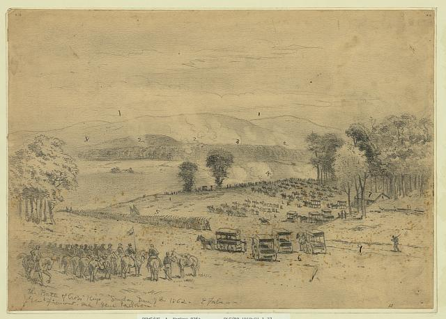 The battle of Cross Keys--Sunday June 7th 1862--Genl. Fremont and Genl. Jackson