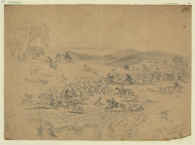 Cavalry fight near Aldie, Va. During the march to Gettysburg; the Union Cavalry; commanded by Gen. Pleasonton, the Confederate by J.E.B. Stuart