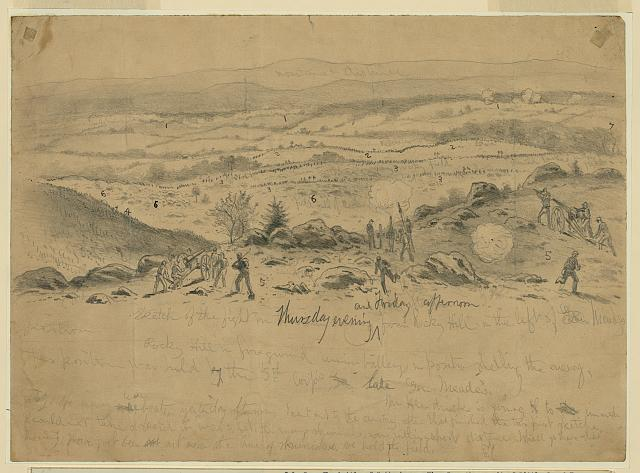 The battle of Gettysburg. View from the summit of Little Round Top. The advance of Genl. Longstreet's Corps on the Union position (5th Corps) on Little Round Top, Thursday evening and Friday afternoon