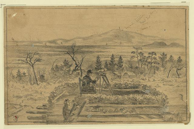 [Signal officers watching the camps of Gen. Lee's army on the south side of the Rapidan River, from the signal station on Poney Mountain]