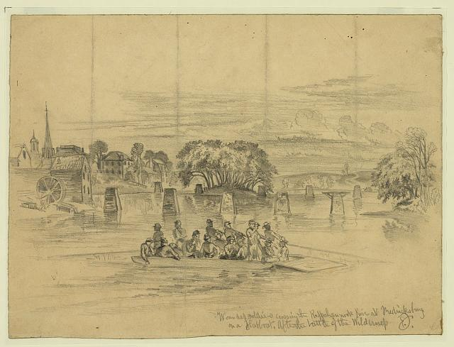 Wounded soldiers crossing the Rappahannock River at Fredericksburg on a flatboat--After the battle of the Wilderness
