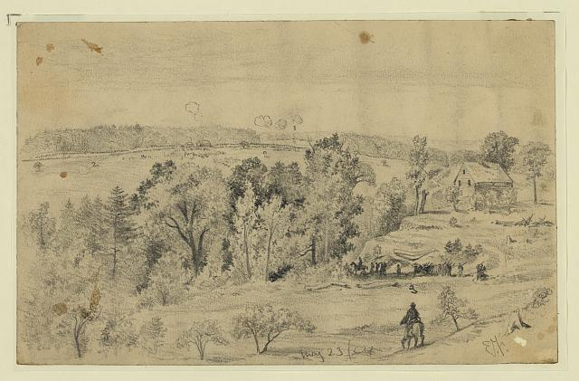 [Battle of the North Anna, from the hill above Jerico Ford showing Confederate lines, Union line, and road to Jerico Ford, Virginia]