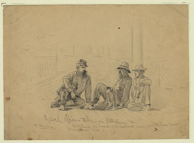 Rebel officers take[n] a[t] Petersburg, Va. - sketched on board a steamboat coming down the James River