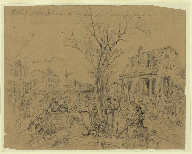 Halt of Wilcox's Troops in Caroline street prevous[sic] to going in to battle--