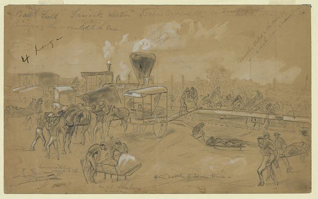 Bringing wounded soldiers to the cars after the battle of Seven Pines
