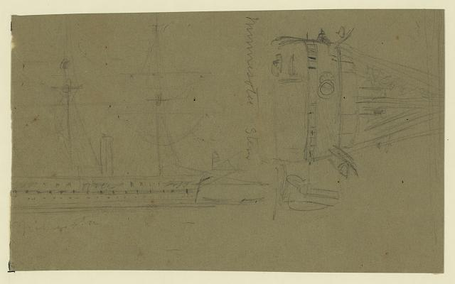 [Broadside and stern views of steamship Minnesota]