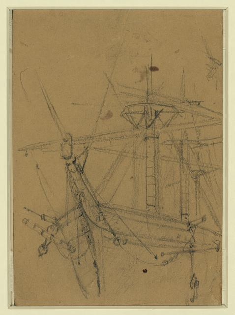 [View of ships bow and rigging]