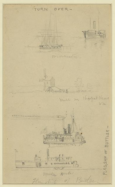 [Views of ships and a mill]