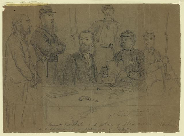 Provost Marshal--and police of Alexandria searching and examining a prisoner of war