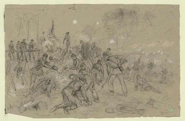 On Hancocks front-- the soldiers ha[ving] no picks and shovels used bayonets, tin pans, old canteens, and even their hands in throwing up breastworks ARW
