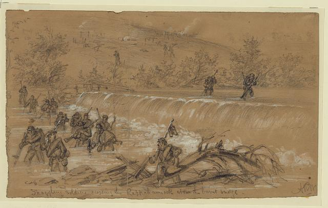 Straggling soldiers crossing the Rappahannock above the burnt bridge