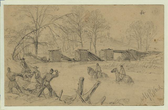 [Soldiers on horseback crossing a river near a collapsed bridge]