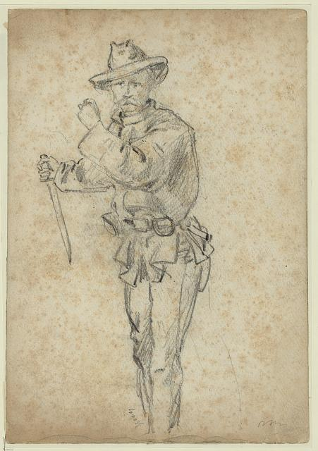 [A soldier with a knife]