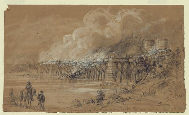 Burning the Rappahannock Railway bridge. Oct. 13th 1863