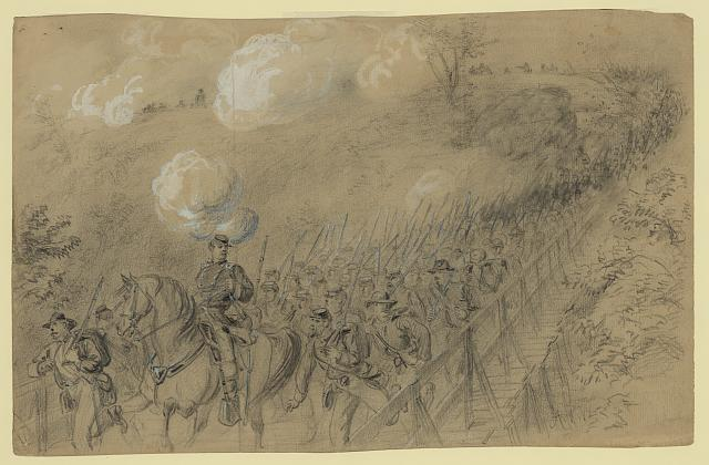 N.Y. 14th Heavy Artillery crossing Chesterfield bridge on the North Anna under a heavy artillery fire