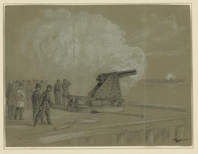 Scene on the dock at the Rip Raps. Testing the Sawyer gun and projectile, a shell bursting on the rebel batteries at Sewells Point