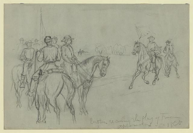 Custer receiving the flag of truce--Appomatox [sic]--1865