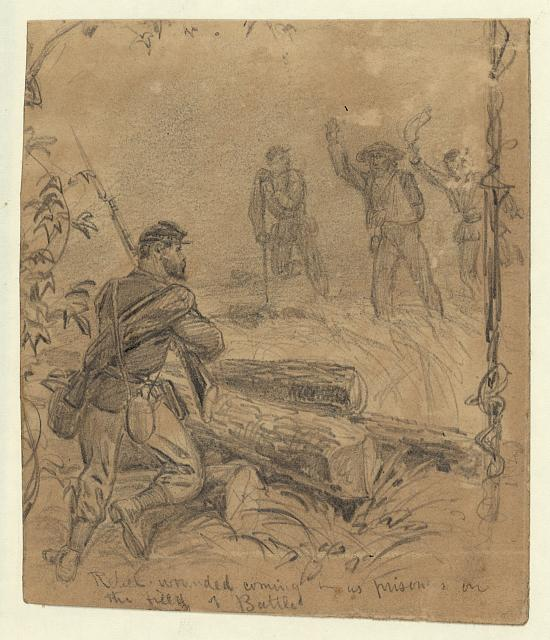 Rebel wounded coming in as prisoners on the field of battle