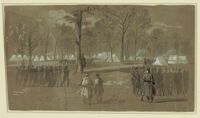 Camp of the second Connecticut regiment at Washington, in a grove on the north side of the city- Near th[e] New York 7th